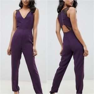 Asos Plum Lace Trim Peg Leg Zip Open Back Jumpsuit